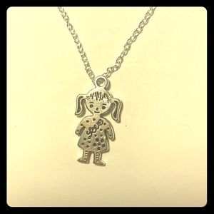 "Girl w pigtails 925 18"" stamped chain"